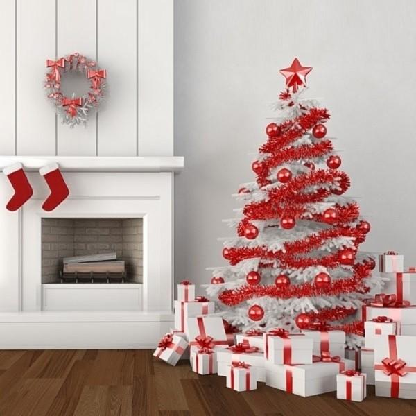 Новогодний декор в красно-белом цвете - классика, которая не выйдет из моды